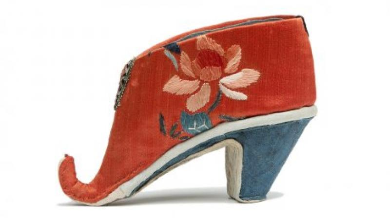 photo of red silk shoe