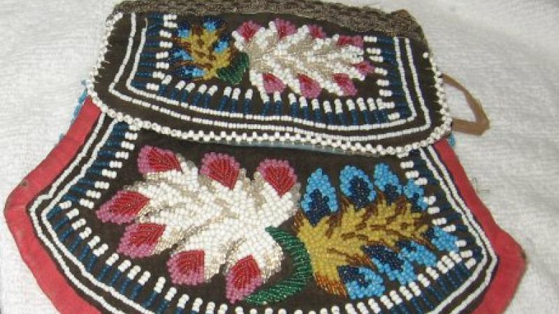 photograph of small beaded pouch