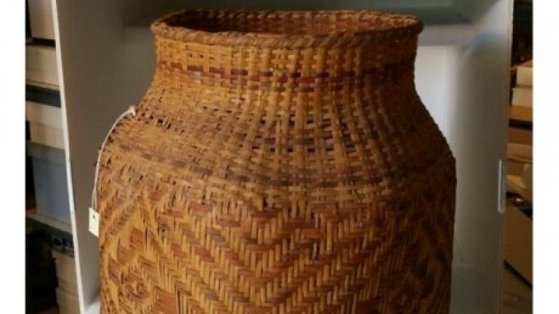 photo of a woven cane basket