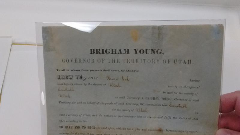 Document from Territorial Governor Brigham Young