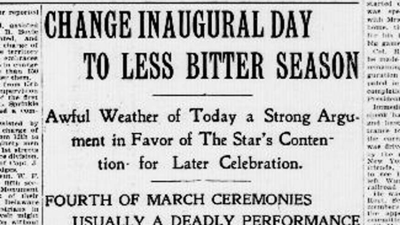 Proposal to change the date of the Presidential Inauguration to late Spring.