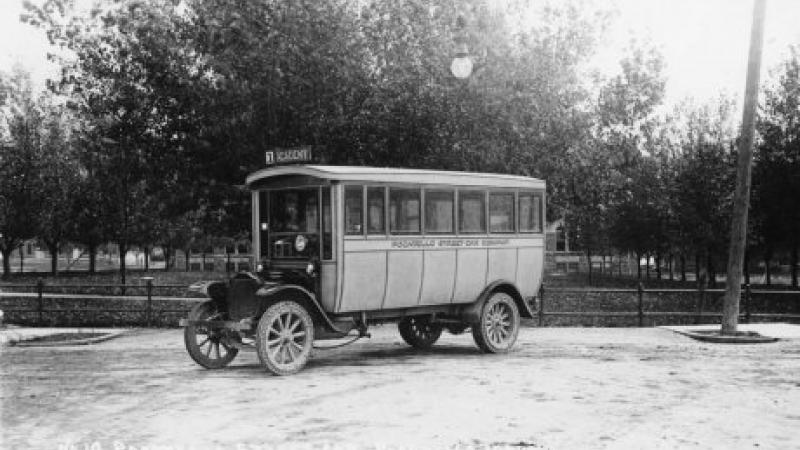 black and white photo of a streetcar