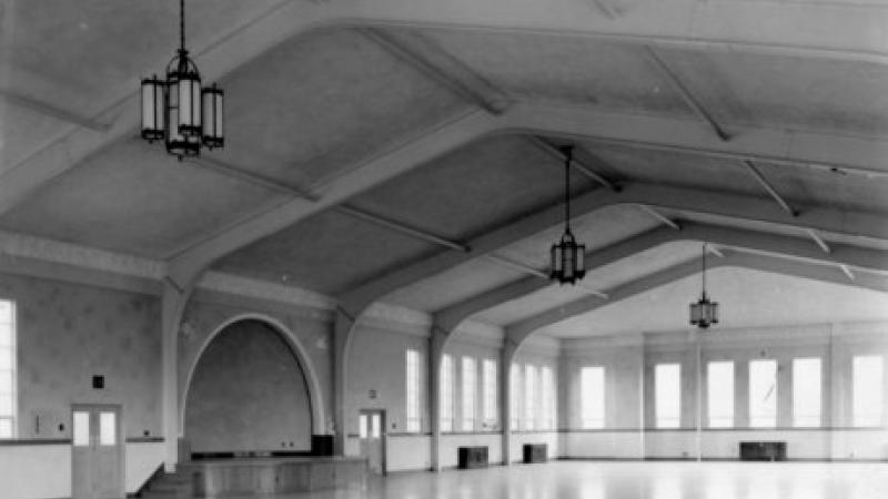 black and white photo of a ballroom
