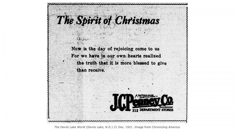 A Christmas advertisement from the J. C. Penny corporation