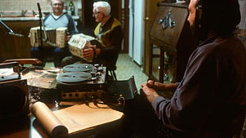 Irving and Robert DeWitz play concertina as Jim Leary records, 1985, Wisconsin.