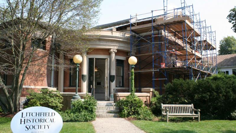 Litchfield History Museum with scaffolding