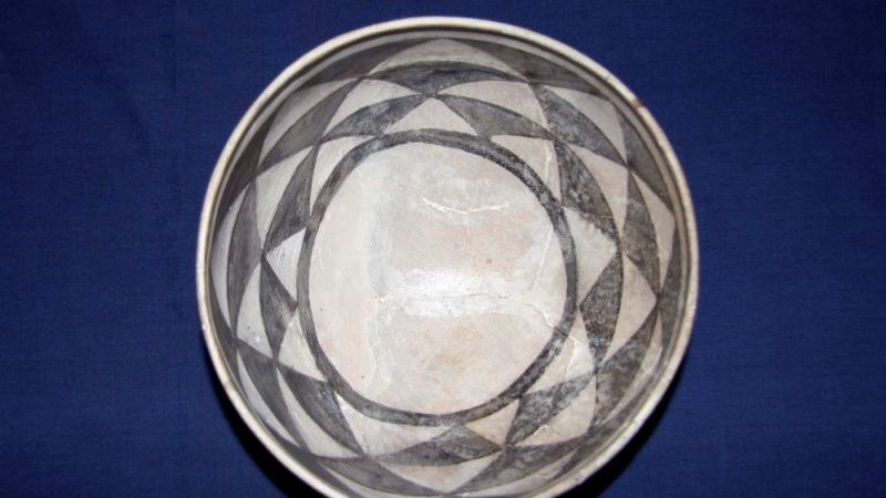 An ancestral Puebloan black-on-white bowl.