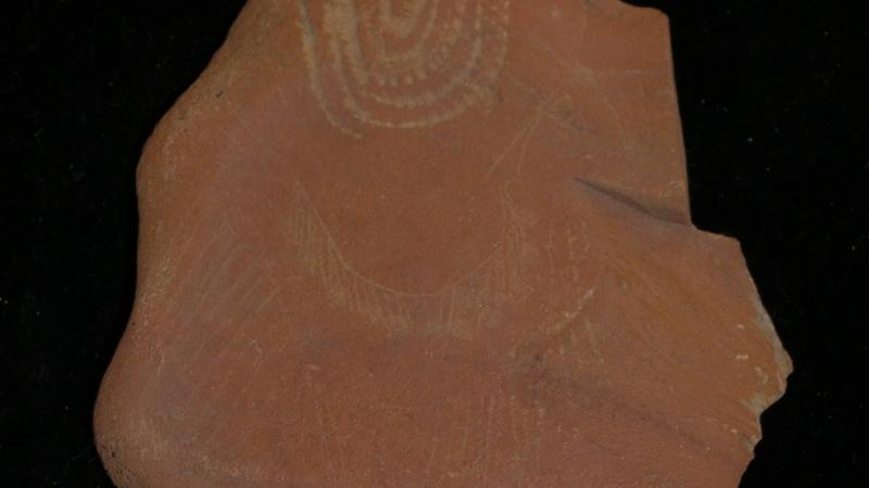 An incised stone, likely created by the Southern Paiute.