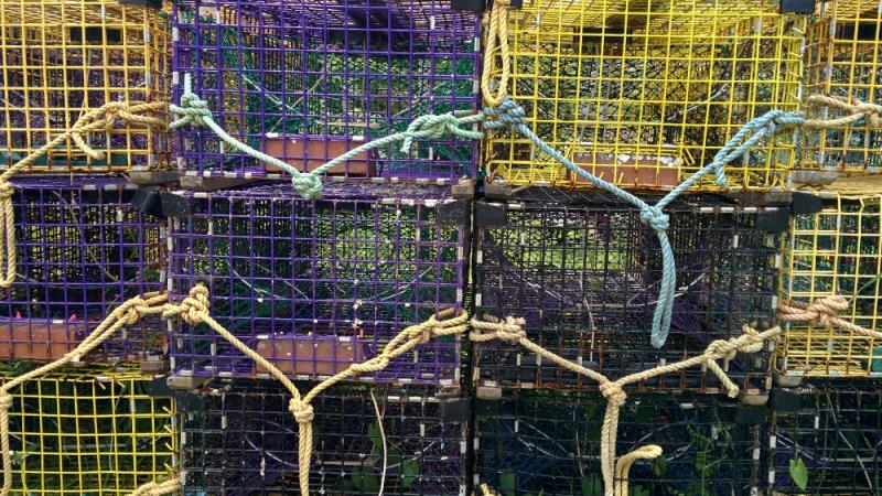 Lobster traps used by fisherman on Monhegan Island.