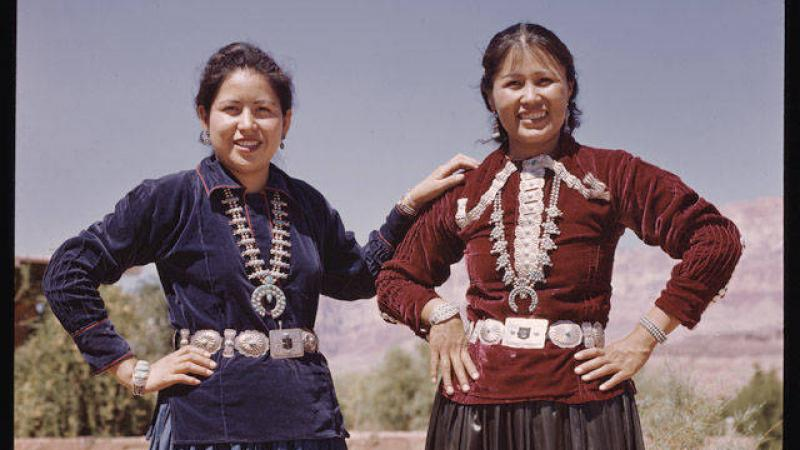 Two Navajo women, Mabell and Nora, at Marble Canyon.
