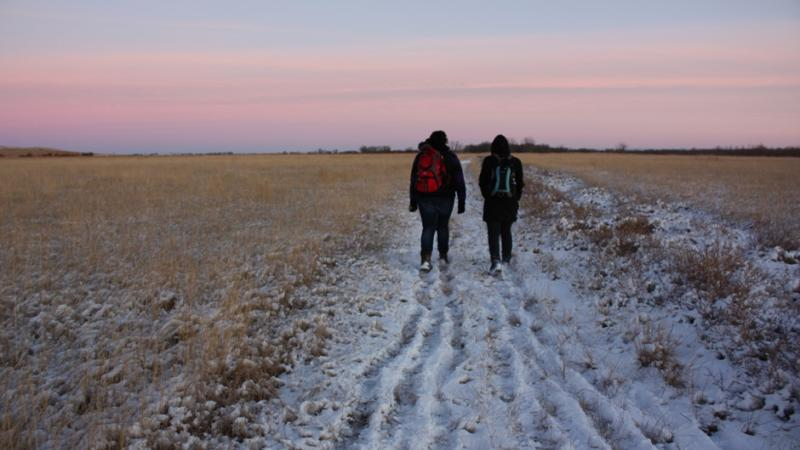 Participants walking home from a workshop in Williston, North Dakota.