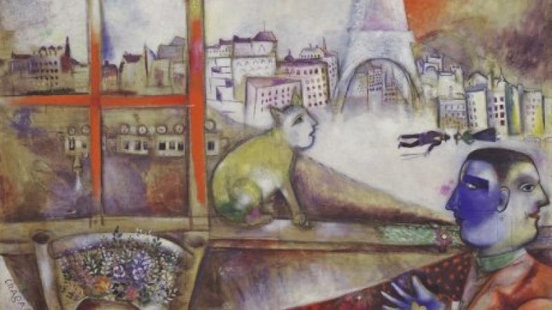 Colorful painting by Marc Chagall showing the Eiffel Tower and a Parisian cityscape in the background.