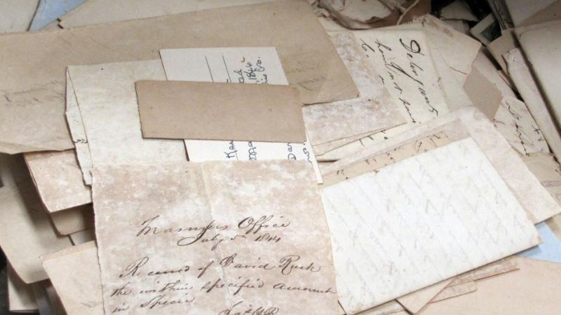 Rusk Family Letters (as they appeared when donated in a suitcase)