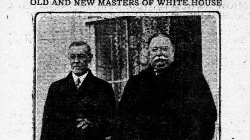 A peaceful show of transition of power between Presidents Wilson and Taft.