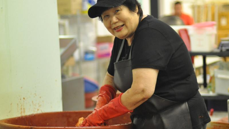 Kimchi maker Yeon Ok Lee of Kong Ju Rice Cake, Houston, Texas.