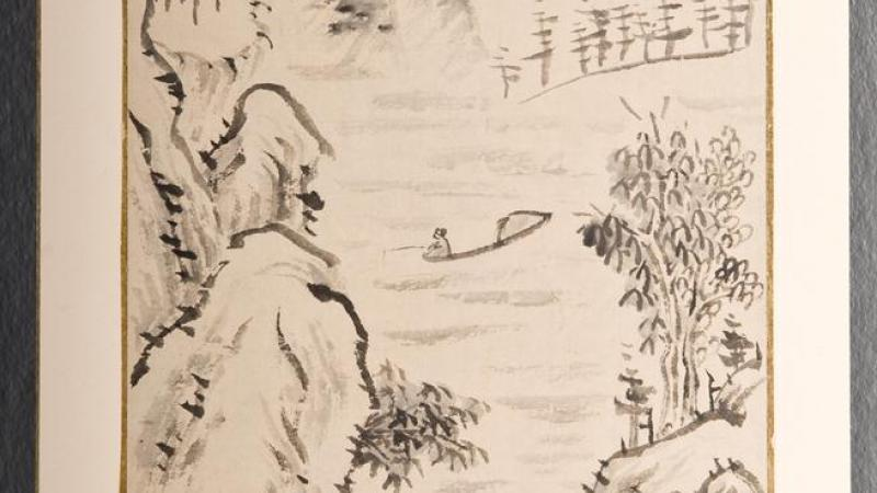 Yi Hai, Landscape, 18th century, leaf from an album separately mounted, ink on paper.