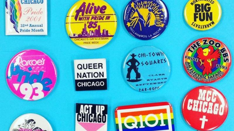 A selection of Gerber Hart's collection of LGBTQ buttons.