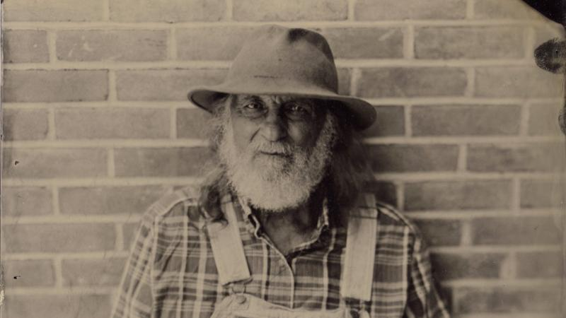 Tintype photograph of Alan Miller at Augusta Heritage Center