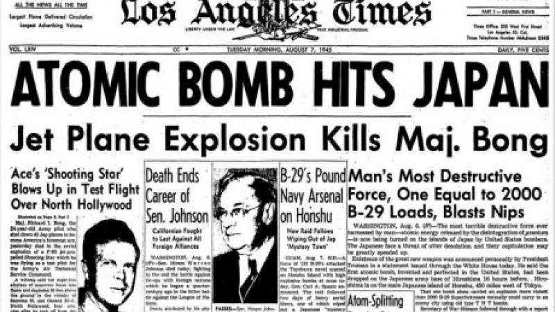 Los Angeles Times front page 6 August 1945.