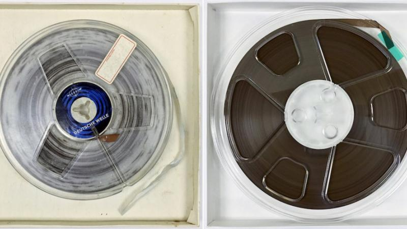 One of Radio Haiti's 1/4-inch reels, before and after cleaning and preservation.