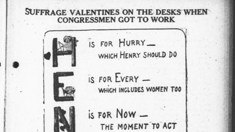 """Suffrage Valentines on the Desks When Congressmen Got to Work.""  The Day Book."