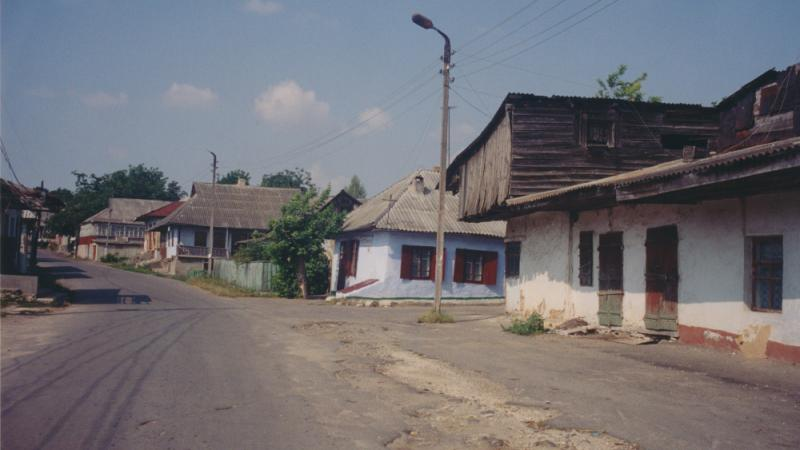 A view down Karl Marx Street from the main square of Sharhorod, Ukraine, 2002.