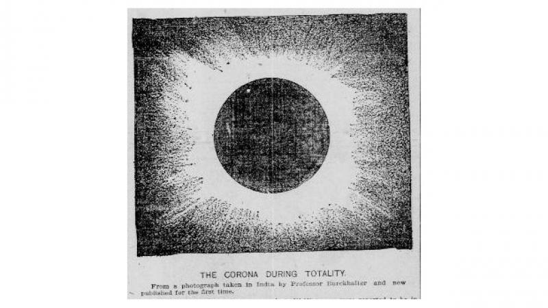 newspaper clip of an eclipse in totality