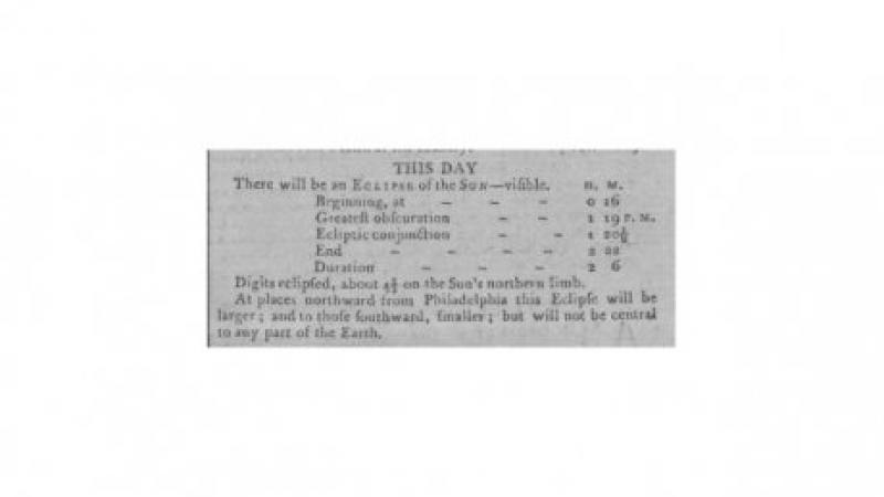 """This Day There Will Be An Eclipse of the Sun Visible."" Gazette of the United-States (New York, New York)"