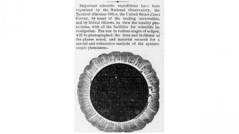 "Appearance of the corona from ""The Eclipse of the Sun."" The Evening Telegraph (Philadelphia, PA)"
