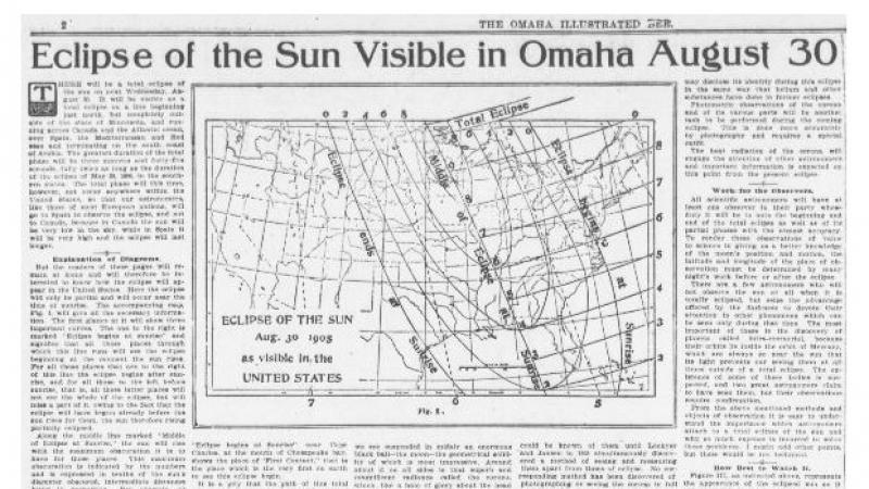 """Eclipse of the Sun Visible in Omaha August 30."" Omaha Daily Bee (Omaha, NE)"