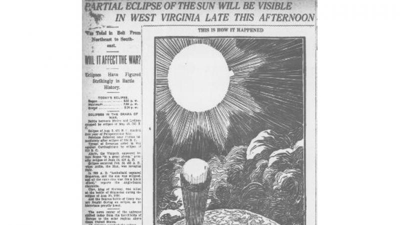 """Partial Eclipse of the Sun Will Be Visible In West Virginia Late This Afternoon."" The West Virginian (Fairmont, WV)"