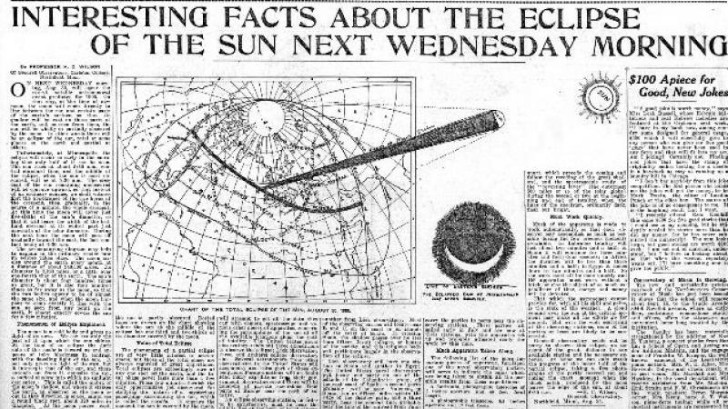 """Interesting Facts about the Eclipse of the Sun Next Wednesday Morning."" The Minneapolis Journal (Minneapolis, MN)"