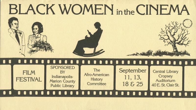 Black Women in Cinema festival brochure from Indianapolis Public, c. 1980