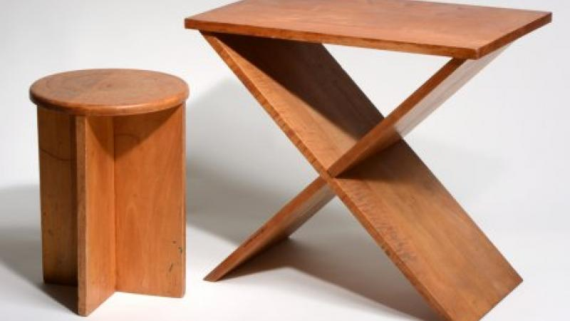 Lawrence Kocher, Stool & Side Table, c. 1942
