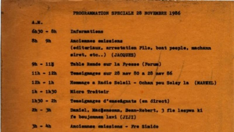 Radio Haiti's programming from November 28, 1986.