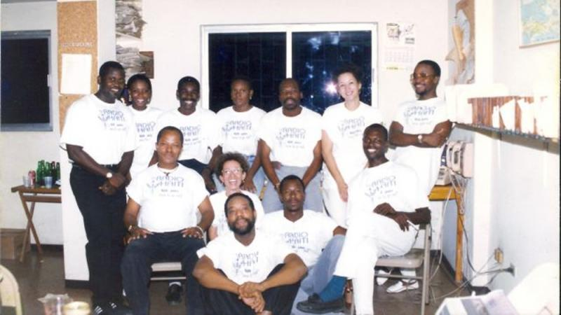 The members of the Radio Haiti team in 1995.