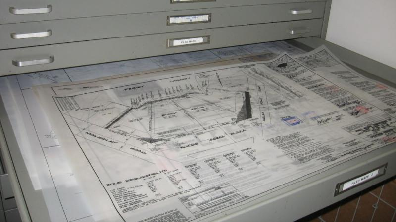 Mylar site plans from Brick, New Jersey, in flat file file drawers