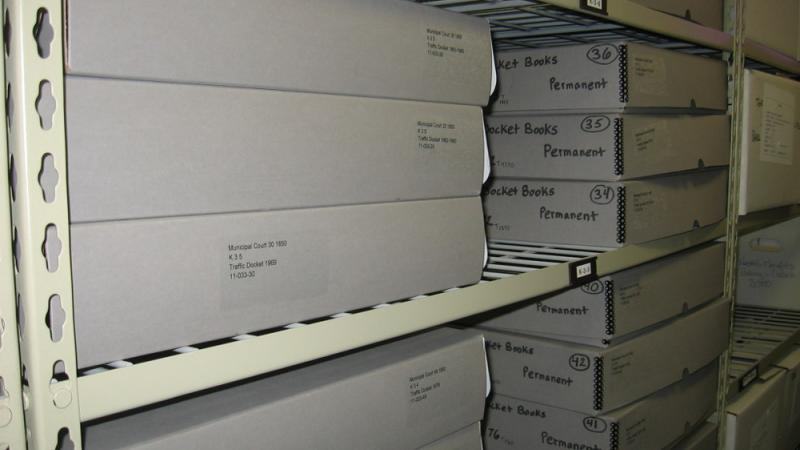 Brick's Municipal Court Docket Books in archival clam shell boxes