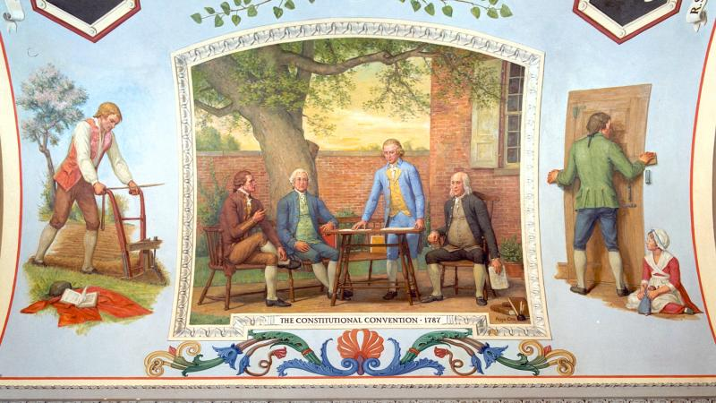 Mural of Alexander Hamilton, James Wilson, James Madison, and Benjamin Franklin