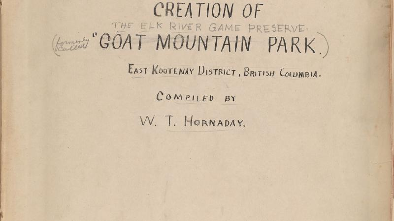 Title page of Volume 1 of the scrapbook collection compiled by first Bronx Zoo Director William Hornaday on his various wildlife campaigns, 1909