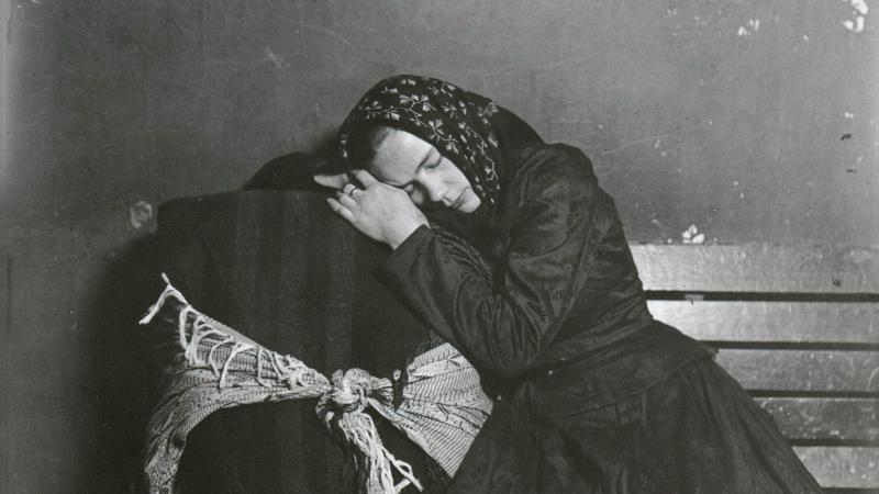 Immigrant woman sleeping