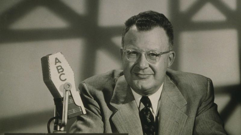 Clifton Fadiman hosting the TV quiz show The Name Is the Same in 1955.