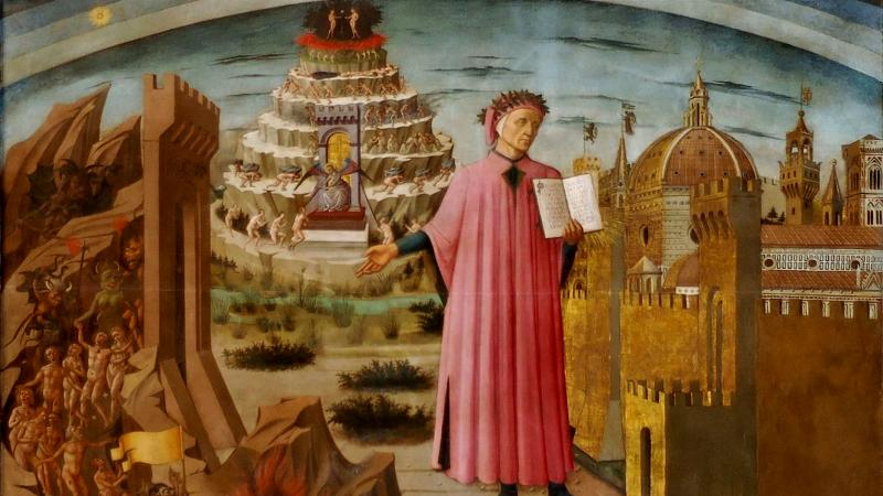 Dante holding the Divine Comedy, fresco, Michelino