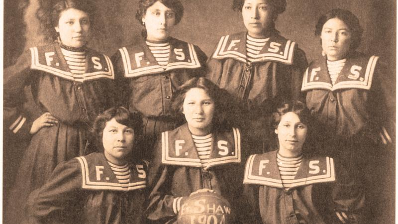Sepia photo of the women who played for Fort Shaw
