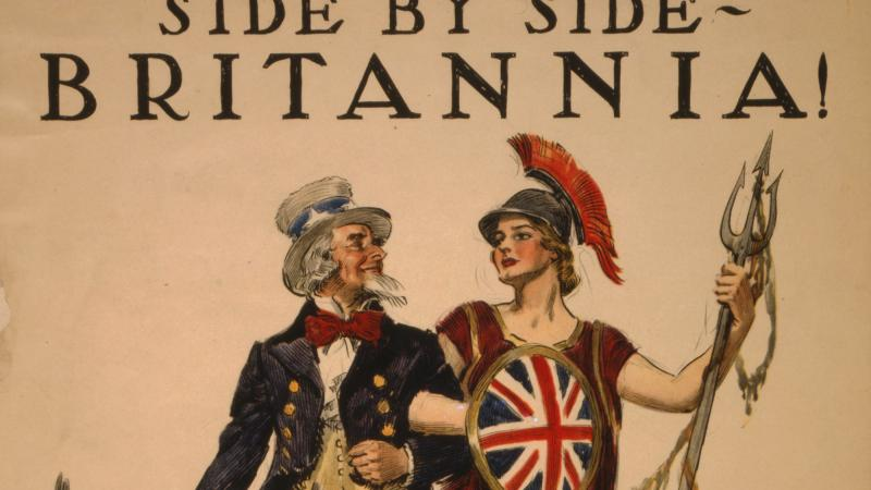 Poster showing Uncle Sam arm-in-arm with Britannia, accompanied by a lion and an eagle.