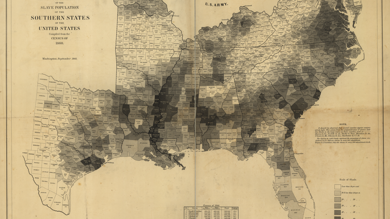 The U.S. Coast Survey map calculated the number of slaves in each county in the United States in 1860.