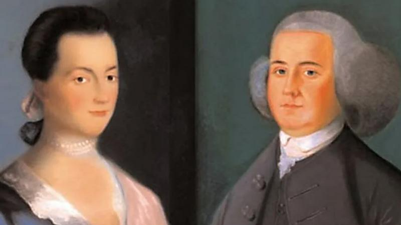 Portraits of Abigail and John Adams.