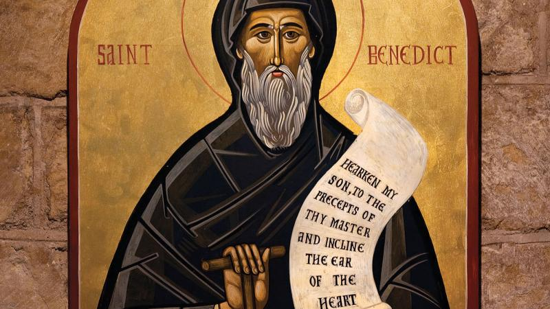An icon of Saint Benedict holding a copy of the Rule of Benedict