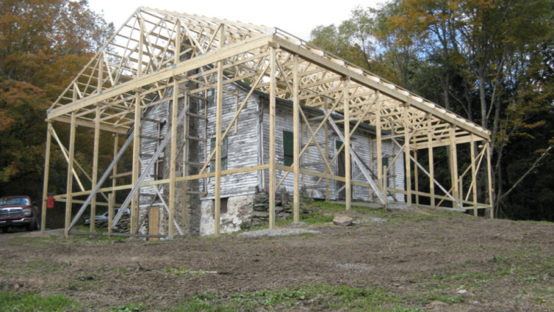 View of protective roof framing on the Dennis House during the 2013 stabilization project
