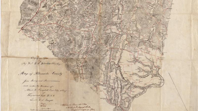 "An excerpt from the ""Map of Albemarle County"" drawn by Lieut. C.S. Dwight, 1864."